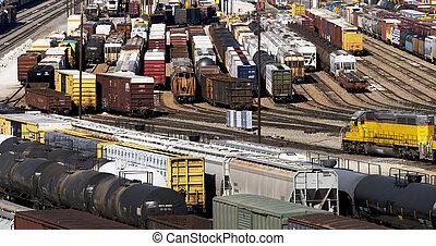 pociąg, yard.