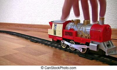 pociąg, zabawka, i, ręka