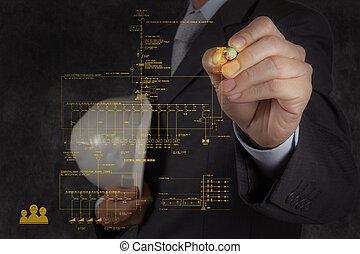 pociąga, ogień alarm, diagram, jednorazowy, schematyczny, kreska, elektronowy, pion, inżynier