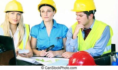pociągający, architekci, pracujący, trzy, biuro