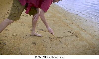 pociągający, człowiek, pozwy, ja kocham was, w piasku, na plaży, z, niejaki, wtykać