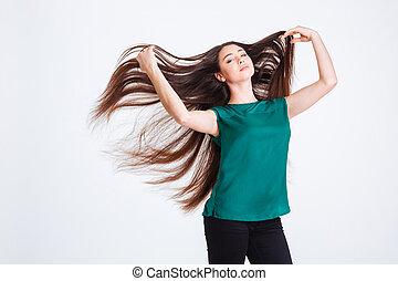 pociągający, czuciowy, młoda kobieta, z, piękny, trzepotliwy, długi ciemny włos