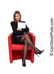 pociągający, kobieta interesu, posiedzenie, w, niejaki, czerwone krzesło
