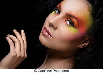 pociągający, kobieta, z, barwny, charakteryzacja