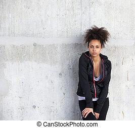 pociągający, lekkoatletyka, młoda kobieta, reputacja, z, earphones