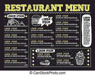 pociągający, menu, restauracja, projektować