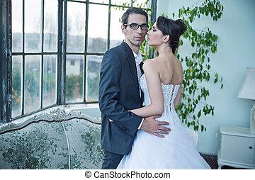 pociągający, poślubna para, po, cielna, partia