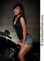 pociągający, trzydzieści, asian kobieta, jeżdżenie, motocykl