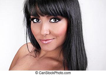 pociągający, uśmiechanie się, brunetka, kobieta, z, prosty, zdrowy, włosy