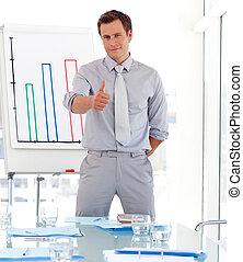 pociągający, udzielanie, prezentacja, biznesmen