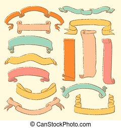 pociągnięty, chorągwie, komplet, barwny, ręka