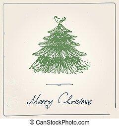 pociągnięty, drzewo, boże narodzenie, ręka