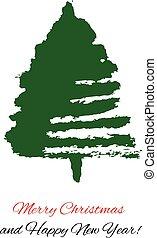 pociągnięty, drzewo., boże narodzenie, ręka