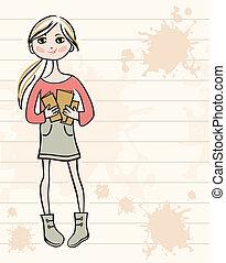 pociągnięty, dziewczyna, książki, ręka