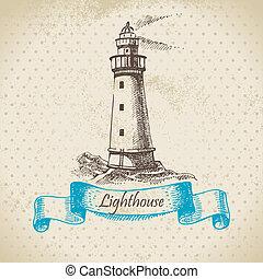 pociągnięty, lighthouse., ilustracja, ręka
