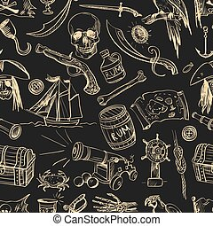 pociągnięty, pattern., piraci, ręka