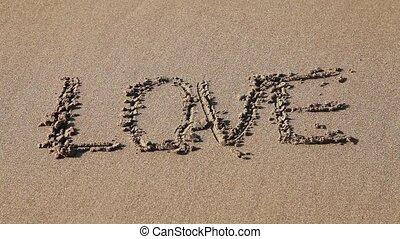 """pociągnięty, piasek, słowo, """"love"""""""