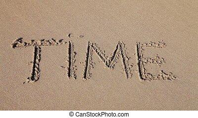 """pociągnięty, piasek, """"time"""", słowo"""