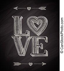 pociągnięty, ręka, miłość, afisz