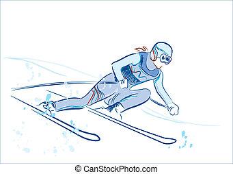 pociągnięty, ręka, rys, narciarz