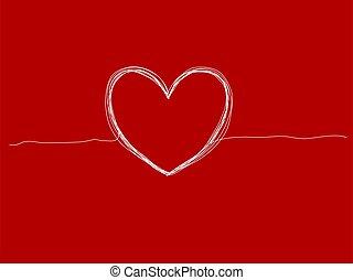 pociągnięty, ręka, tło, serce, wektor, ilustracja, czerwony