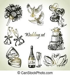 pociągnięty, set., ślub, ilustracja, ręka