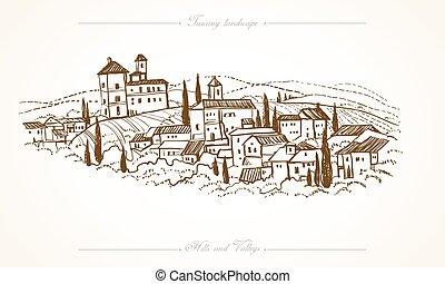 pociągnięty, tuscany, krajobraz, ilustracja, ręka