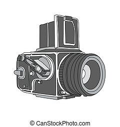 pociągnięty, wektor, aparat fotograficzny, ręka