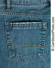Pocket - A denium blue jean pocket shot up close