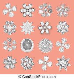Pocket bag gemstones jewelry flower pattern set - Pocket bag...