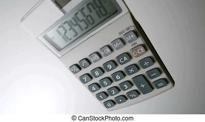 Pocket calculator falling on white