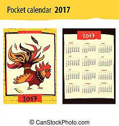 Pocket calendar 2017 Chinese New Year of the Rooster . Vector Il