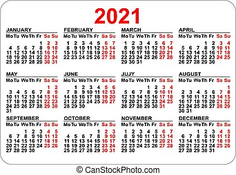 Pocket calendar 2021 grid template isolated on white