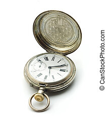 pocket clock - Pocket antique clock, isolated on white...