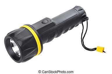 black electric pocket flashlight, isolated on white
