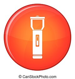 Pocket flashlight icon, flat style