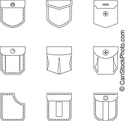 Pocket form icon set, outline style