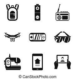 Pocket gadget icons set, simple style