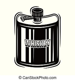 Pocket hip flask for whiskey vector object