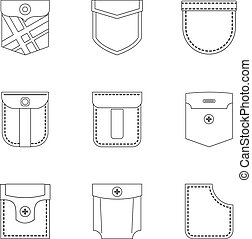 Pocket icon set, outline style