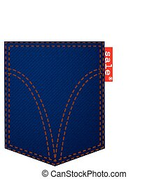 Pocket jeans with a red ribbon