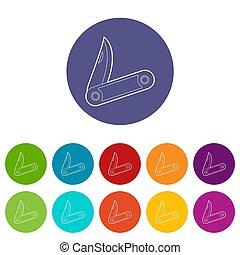 Pocket knife icons set color