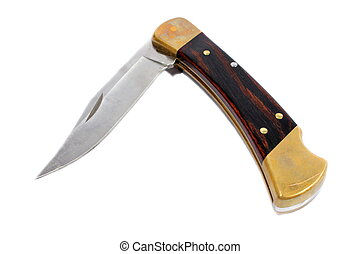 Isolated pocket knife with brass ends and a dark wooden handle.