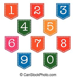 Pocket Numbers - Numbers on pockets over a white background