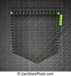 Pocket of black jeans. Vector