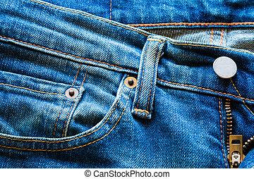 pocket of blue jeans close-up