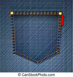 Macro vector of blue jeans pocket on back
