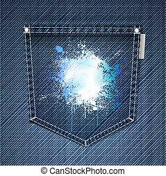 Pocket of blue jeans with splattered ink. Vector