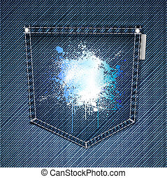 Pocket of blue jeans with splattered ink. Vector