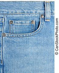 Pocket on blue jeans